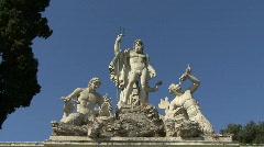 Rome Neptune statue Piazza del Popolo Stock Footage