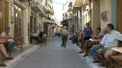 Chios Prigi street with men Stock Footage