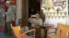 Chios Drinking coffee Prigi village  Stock Footage