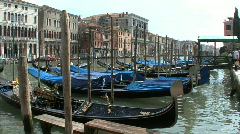 Venice Gondolas moored along the Grand Canal - stock footage