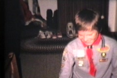 Boy Scout Receives Awards (1970 Vintage 8mm film) Stock Footage
