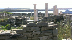 Greek Antiquities View from Delos ruins Stock Footage