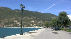 Small town waterfront on the Ionian Sea Stock Footage