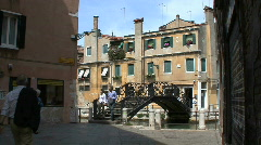Venice Iron bridge over a small canal Stock Footage