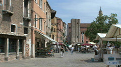 Venice market stalls in a plaza Stock Footage