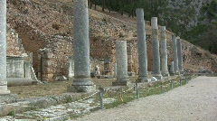 Greek Antiquities Row of columns at Delphi  Stock Footage