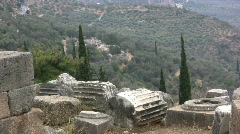 Greek Antiquities Broken columns & view at Delphi  Stock Footage