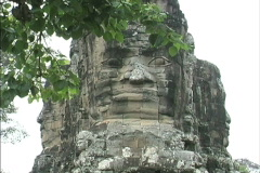 Stone face Angkor Thon Stock Footage