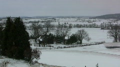 Snowy landscape with farmstead Stock Footage