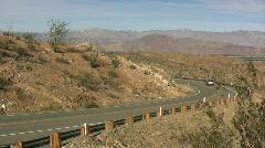 Anza Borrego cars on road Stock Footage