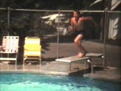 Fun In The Swimming Pool (1974 Vintage 8mm film) Stock Footage