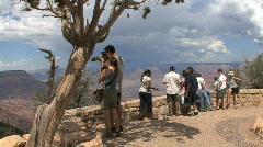 Arizona Grand Canyon scene with tourists - stock footage