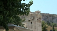 Stock Video Footage of Athens Tower of the Winds and acropolis