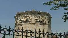 Athens Tower of the Winds behind fence Stock Footage