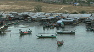 Cambodia fishermen and boats Stock Footage