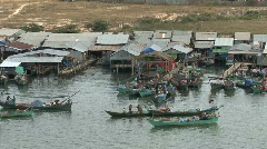 Cambodian fishing village Stock Footage