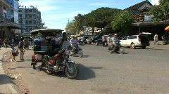 Cambodia street with traffic Stock Footage
