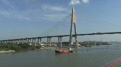 Ship and bridge Chao Phraya River - stock footage