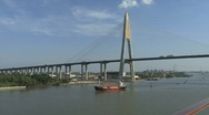 Stock Video Footage of Ship and bridge Chao Phraya River
