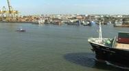 Cargo ship on the Chao Phraya River Stock Footage