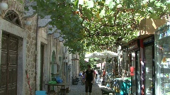 Chios Vine shaded street in Mesta Stock Footage