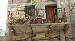 Chios Flower pots on a balcony in Mesta Stock Footage