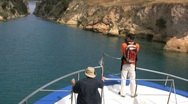 Stock Video Footage of Corinth canal with boat and people