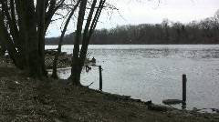 Delaware River in winter Stock Footage