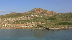 Delos from the water of the Aegean Stock Footage