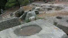 Greece Delphi Water in stone hollow Stock Footage
