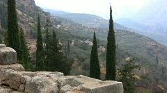 Greece Delphi Zooms in on temple below Stock Footage