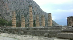 Greece Delphi Apollo temple columns Stock Footage