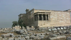 Greek Antiquities Erechtheum Acropolis Athens Stock Footage