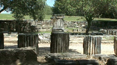 Greek Antiquities ruined columns at Olympia  Stock Footage