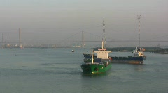 Guangzhou freighters in the Pearl River - stock footage
