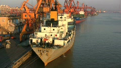 Guangzhou loading ship Stock Footage