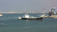 Haifa port with a cargo ship Stock Footage