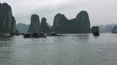 Halong Bay karst towers Stock Footage