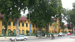 Hanoi European style building with traffic Stock Footage