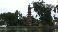 Hanoi pagoda by lake Stock Footage
