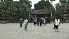 Hanoi temple with tourists Stock Footage