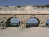 Stock Video Footage of Roman aqueduct Caesarea