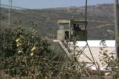 Guard tower Lebanon border - stock footage