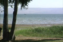 View across Sea of Galilee Stock Footage