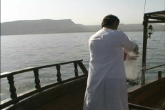 Casting net Sea of Galilee Stock Footage