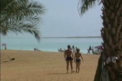 Israel Couple on Dead Sea beach Stock Footage