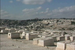 Jerusalem Cemetery on Mt of Olives Stock Footage