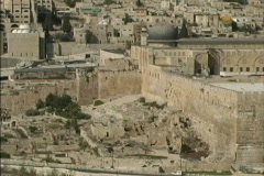 Jerusalem City walls from Mt of Olives Stock Footage