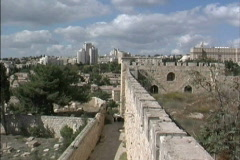 Jerusalem New city from old city walls Stock Footage