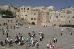 Stock Video Footage of Jerusalem Plaza near the Western Wall